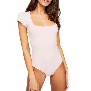 NWT Free People Square Eyes Light Pink Bodysuit S